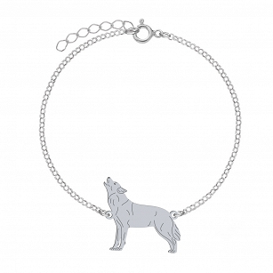 Bracelet WOLF gold-plated rhodium-plated silver FREE ENGRAVING