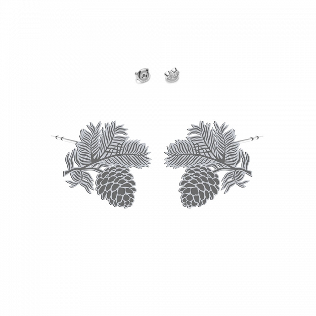 Pine cone earrings sterling silver rhodium plated gold  - MEJK Jewellery