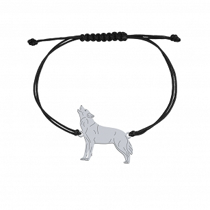 Bracelet WOLF gold-plated rhodium-plated silver twine FREE ENGRAVING