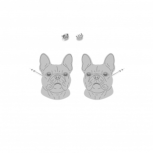 Earrings Bulldog French gold-plated rhodium-plated silver