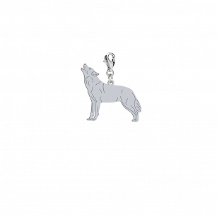 Charms WOLF gold-plated rhodium-plated silver FREE ENGRAVING