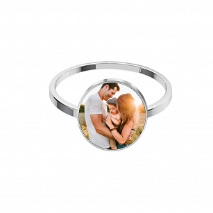 Ring with Photo Personalization - rhodium plated silver