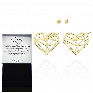 Earrings, openwork hearts, silver rhodium-plated or gold-plated