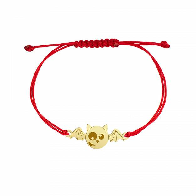 Bracelet Halloween Bat gold-plated rhodium-plated silver twine