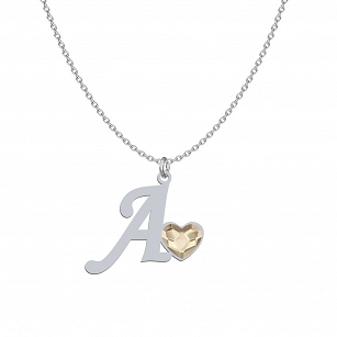 LETTER necklace from A-Z SWAROVSKI crystal heart - silver rhodium plated gold-plated