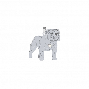 English Bulldog pendant SWAROVSKI heart ENGRAVING FREE
