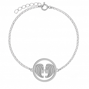 Bracelet Zodiac sign GEMINI gold-plated rhodium-plated silver FREE ENGRAVING