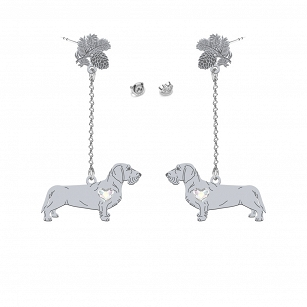 Earrings Wirehaired Dachshund SWAROVSKI heart ENGRAVING FREE  - MEJK Jewellery