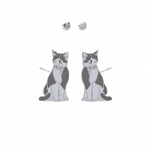 Earrings Domestic Cat TUXEDO CAT silver rhodium plated gold-plated - MEJK Jewellery