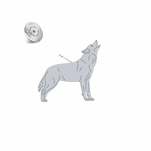 Pin WOLF gold-plated rhodium-plated silver