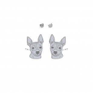 Earrings American Hairless Terrier (AHT) silver rhodium plated or gold-plated - MEJK Jewelery