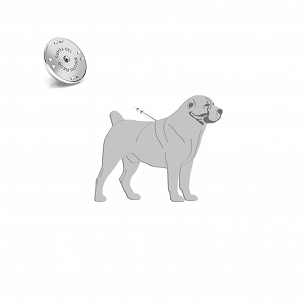 Pin Central Asian Shepherd Dog (Asian) gold-plated rhodium-plated silver FREE ENGRAVING