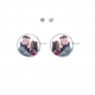 Earrings with Photo Personalization, rhodium-plated silver